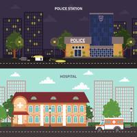 Conjunto de banners horizontales de paisaje urbano.