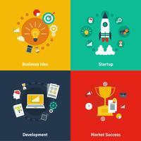 Concepto de negocio 4 iconos planos cuadrados