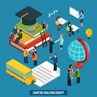Education concept in isometric characters design