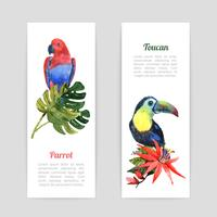 Tropical birds watercolor banners set vector