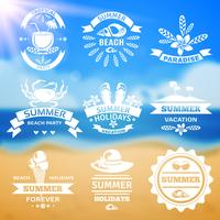 Summer vacation typography emblems labels set