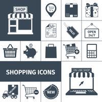 Conjunto de ícones brancos pretos de compras