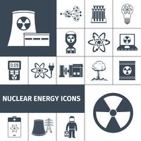 Nuclear energy icons set black