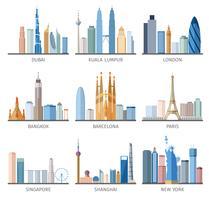 City skyline plat pictogrammen instellen