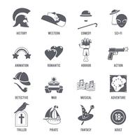 Film Genres pictogrammen zwarte set