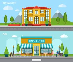 Cafe Flat Banner Set vector