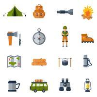 Conjunto de ícones plana de campismo