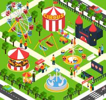 Amusement Park Isometric vector