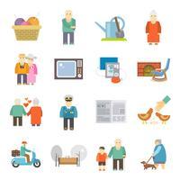 Pensioners life flat icons set