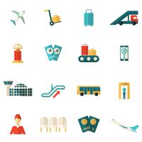 Iconos de aeropuerto planos
