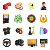 Casino gambling games flat icons set