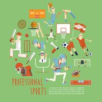 Professional competitive team sports concept poster