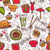 Restaurant symbols seamless pattern doodle sketch vector