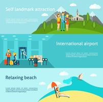 Tourism travelling horizontal flat banners set