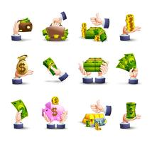 Hands cash payment icons set vector