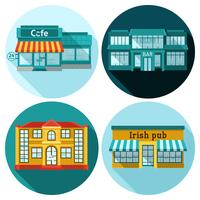 Cafe Flat Set vector