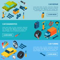 Car Repair Tuning Isometric Banners Set vector