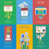 Seo plat pictogrammen samenstelling poster