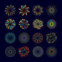 Set piatto icona di fuochi d'artificio