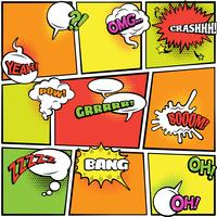 Comics bubbles bright colors collection
