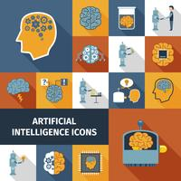 Conjunto de iconos de inteligencia artificial