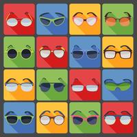 Flache Ikonen der Sonnenbrillengläser-Mode eingestellt