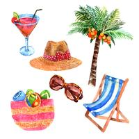Tropical vacation travel watercolor icons set