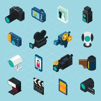 Iconos isométricos de foto y video