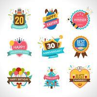 Conjunto de emblemas de celebração