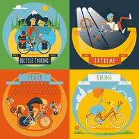 Cycling 4 flat icons banner