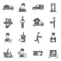 Food delivery courier black icons set