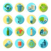 Waste Sorting Round Icons Set