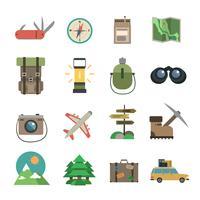 Escursionismo icone set piatto