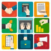 Set di mani di affari piatte