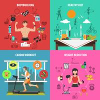 Gym Flat Set vector