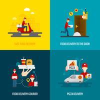 Set di icone di concetto di consegna di cibo