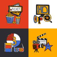 Cinema ontwerpconcept plat pictogrammen instellen