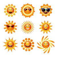 Collection d'icônes smiley soleil sourire