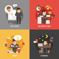 Estresse, no trabalho, ícones lisos, composição