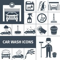 Car wash service icons set black