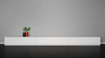 Minimalistic interior with cupboard table with plants