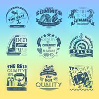 Set di etichette di vacanza vacanze estive