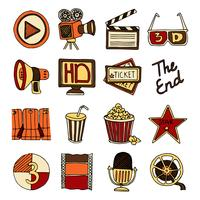 Cinema vintage icons set color
