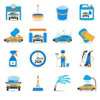 Set di icone di servizio di autolavaggio