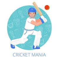 Cricket player icon poster print flat