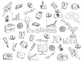 Business strategy icons outline sketch