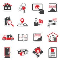 Conjunto de iconos de bienes raíces negro