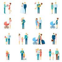 Conjunto de iconos familiares