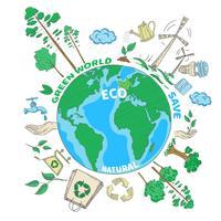 Doodle conceito de ecologia vetor