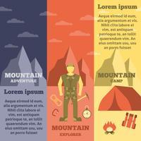 Mountain climber equipment banners set